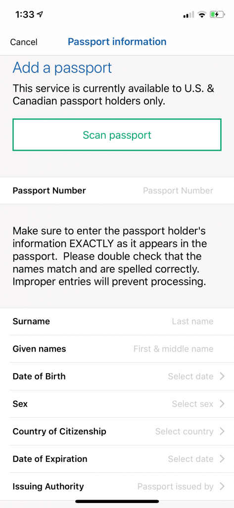 Mobile Passport App